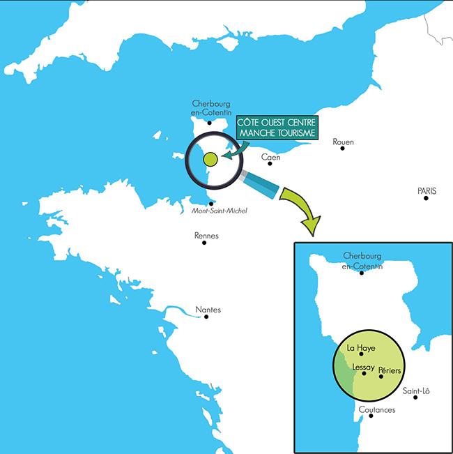 comment venir, voici la carte pour repérer le territoire Côte Ouest Centre Manche