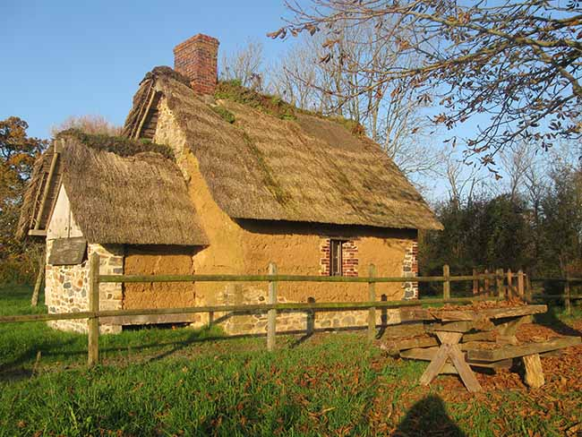 Bâti en terre typique des marais du Cotentin à l'automne
