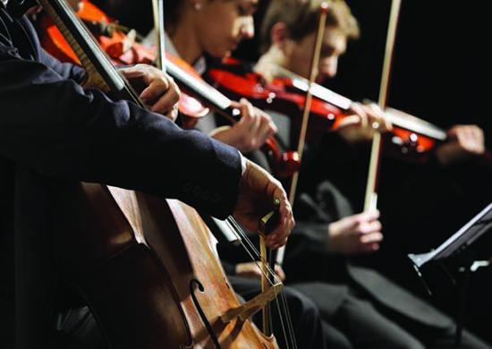 Orchestre jouant lors du Festival Les Heures Musicales de l'Abbaye de Lessay